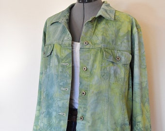 Green Large Denim JACKET - Apple Leaf Green Hand Dyed Upcycled Faded Glory Denim Trucker Jacket - Adult Womens Size Large (46 chest)