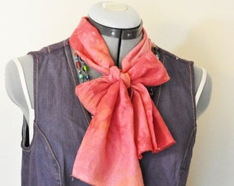 """Red Orange Cotton Linen SCARF - Pink Red Hand Dyed Tie Dye Hand Made Linen Cotton Scarf #74 - 6 x 52"""""""