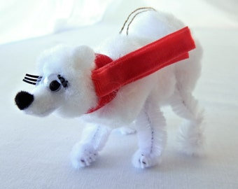 White Polar Bear Ornament Wearing Red Scarf, 50s 60s Festive Christmas Retro Holiday Decoration