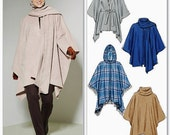 Poncho Cape Pattern, One Hour Sewing Pattern, Hoody Poncho Pattern, McCall's Sewing Pattern 6209