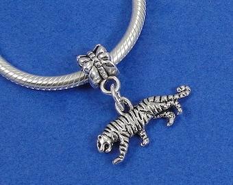 Tiger European Dangle Bead Charm - Silver Tiger Charm for European Bracelet
