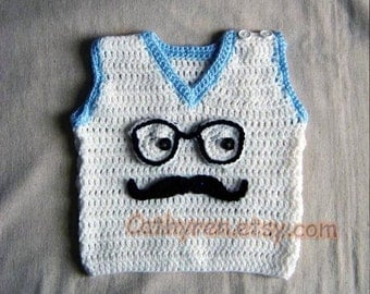 Baby Vest, Applique with a Funny Face with Mustache and Glasses - INSTANT DOWNLOAD Crochet Pattern