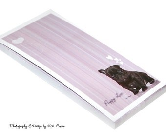French Bulldog Note Pad, Optional Magnetic Backing, French Bulldog Lavendar Note Pad - 50 Pages in each Pad