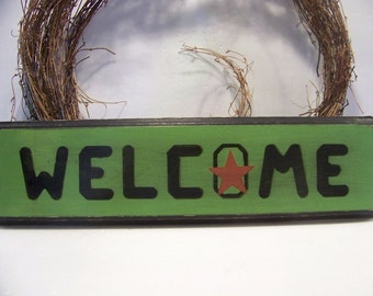 """Rustic """"Welcome""""  Handpainted Wooden Sign Home Decor"""