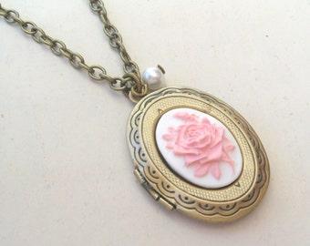 English Rose Locket Necklace, Flower Locket, Bronze Cameo Locket, Pink Rose Locket