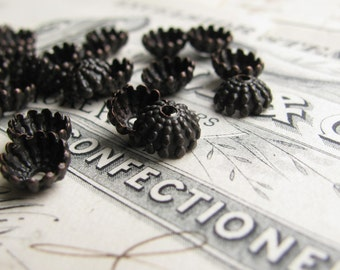 Mini sea urchin, 7mm domed beadcap (10 black bead caps) dark antiqued brass, ridged hemisphere, aged patina, hobnail bead cap BC-SG-011