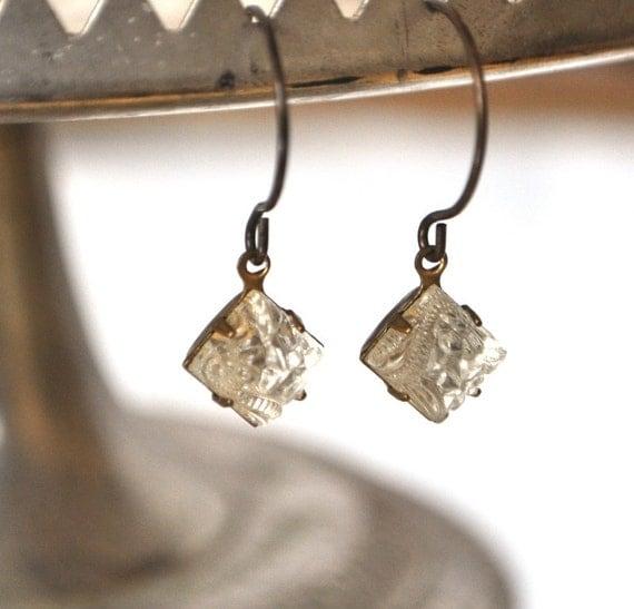 Vintage Crystal Patterned Diamond Glass Earrings - Vintage Assemblage