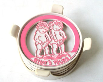 vintage 1970's coasters pink blue what's yours? babies baby naughty funny humerous novelty mid century modern retro decorative home decor
