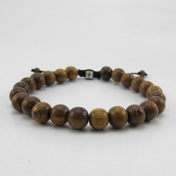 mens brown robles wood beaded adjustable bracelet with. Black Bedroom Furniture Sets. Home Design Ideas