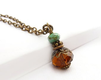 Amber Brown Pendant Necklace - Faceted Crystal - Turquoise Picasso Glass - Antiqued Bronze Chain - Vintage Inspired Necklace
