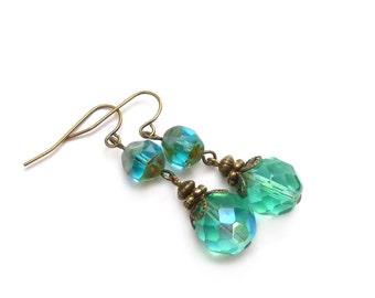 Aqua Blue Earrings - Fire Polished Glass Dangles - Bronze Vintage Inspired Drop Bohemian Earrings