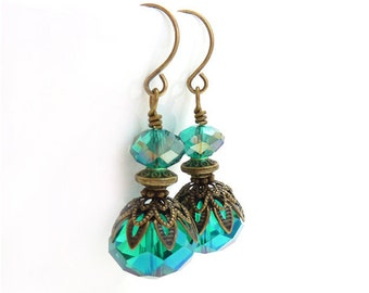 Teal Blue Earrings - Wire Wrapped Dangle Earrings - Faceted Glass - Vintage Inspired Bronze Details
