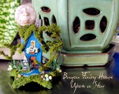 Under A Cajun Moon - Bayou Fairy House Upon a Star - Miniature Moss Covered Swamp House with Wooden Dock, Alligator, Canoe and Full Moon