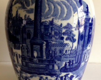 Victoria Ware Ironstone Flow Blue Transferware Ginger Jar