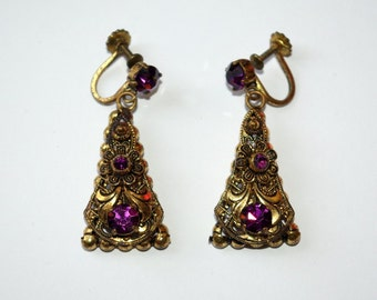 1930s purple Czech glass earrings