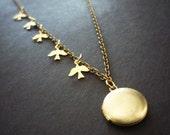Five Tiny Birds Locket Necklace, Tiny Brass Locket, Vintage Locket Gift, Mother's Day Jewelry