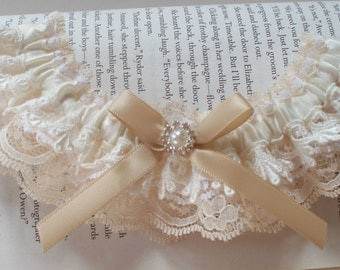 Lace Wedding Garter AND TOSS in Shades of Ivory, Champagne and Off-White - The NINA Garter