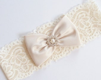 Wedding Garter, Rhinestone Garter, Lace Garter, Bridal Garter, Pearl Garter, Champagne Garter - The CHARLA Garter