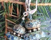 Handmade Lampwork Glass and Sterling Earrings - Ocean Rocks