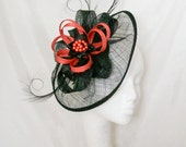 Black Sinamay Saucer Curl Feather and Burnt Orange Loop  Pearl Cecily Wedding  Fascinator Hat Derby Ascot  Made to Order