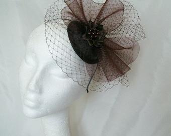 Brown Vintage Fascinator - Chocolate Mocha Veil Crinoline & Pearl Sinamay Steampunk Wedding Fascinator Mini Hat - Made to Order