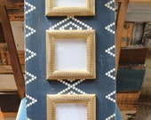Navy and Gold Hermitage Vintage Tile Pattern 3 Opening 5x5 Distressed Frame