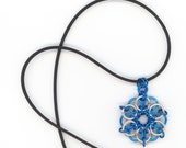 Celtic Star Chainmail Pendant Electric Blue and Silver Unisex Pendant