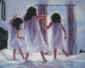 Three Sisters Jumping On Bed Art Print, three girls bedroom pink wall art decor, three brunettes, three best friends, Vickie Wade art