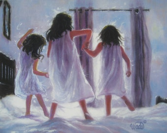 Three Sisters Jumping Art Print, three girls bedroom lavender wall art decor, three brunettes, three best friends, Vickie Wade art
