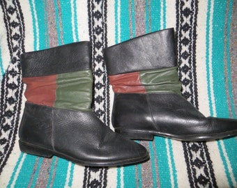 hipster  80s  soft leather pixie flat heel ankle boots size 6 m