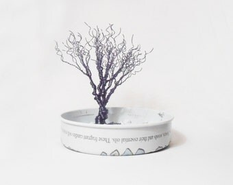 dark blue wire tree - minimal art statue - miniature home decoration - minimalistic tree of life