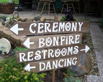 4 rustic wedding signs /RUSH ORDERS WELCOME / wedding decorations /mr and mrs sign / ceremomy sign / reception sign / parking sign / signs