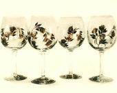 Hand-Painted Wine Glasses - Copper and Ebony Black Roses, Set of 4 - Wedding Bridal Party Steampunk