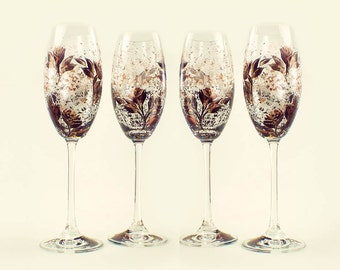 Hand-Painted CRYSTAL Champagne Flutes - Copper and Black Roses, Set of 4 - Flutes a Mariage Wedding 8th Anniversary Toast Glasses Gift