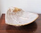 midcentury modern atomic ash tray, royal haeger Shell gold tweed 22k gold ashtray, cigar ash tray vintage, SALE