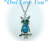 Owl Necklace Turquoise, Emerald Green Eyes,  Owl Love You,   Vintage 1960's 1970's