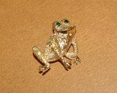 Frog Brooch  Gold Tone  Aurora Borealis Crystals  Vintage 1970's