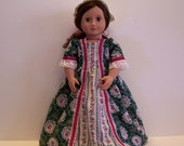 Floral Colonial Dress and Cap for American Girl and Other 18 inch Dolls