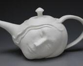 Dreamer Teapot Face Sculpture, Surreal Art Pottery Porcelain Serving Vessel