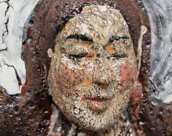 Ceramic Wall Art Face Platter Tile Slab Mask Halo with Lava Texture Wabi Sabi Rustic Figure Grotesque
