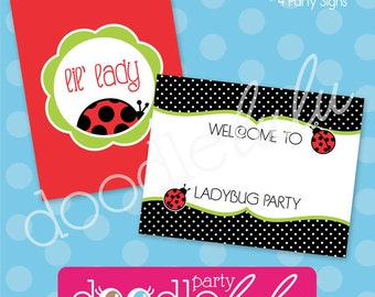Ladybug Party Signs - Ladybug Birthday Party Decorations - PRINTABLE, INSTANT DOWNLOAD