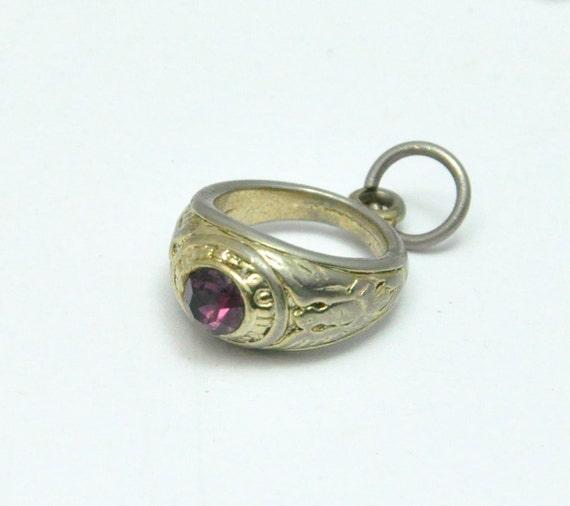 Vintage Class Ring Charm Purple Stone