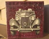 "on the road - 4"" x 4"" original artwork  painting and WWII era collage"