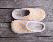 Beige felted wool slippers with yellow polka dots eco friendly home shoes women woolen clogs winter gift Christmas gift - handmade to order