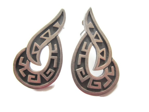 silver taxco mexico earrings tribal unique