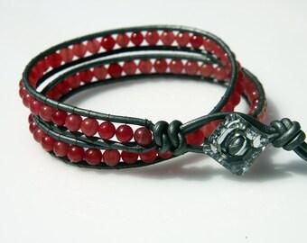 SALE 50% OFF, Wrap Beaded Bracelet - Friendship Bracelet - Cherry Quartz Beads Bracelet - Teen Bracelet - Girls Bracelet - Fall Gift