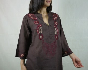 The Very Thought Of You (Series II)...Typically Floral Hand Embroidered Long Sleeves Light Cotton Blouse In Dark Brown