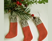 Miniature Scandinavian Stocking Ornament in Black, White and Red
