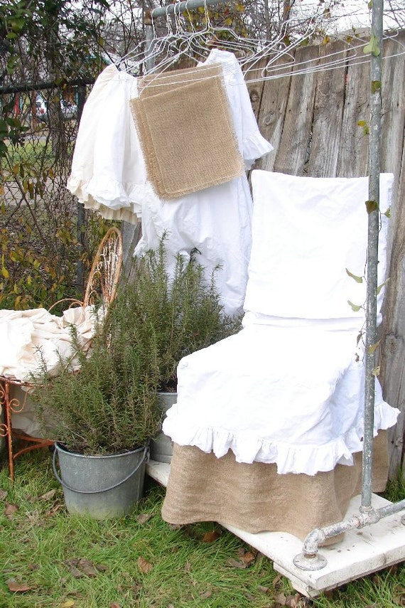 CHAIR SLIPCOVER French Country Natural Cotton Muslin Chair Slip cover Shabby Frayed Ruffle COTTON