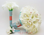 Coral & Aqua Blue Bridal Bouquet Roses Calla Lilies Stephanotis with Groom's Boutonniere and Toss Bouquet